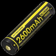 Аккумулятор 18650 Nitecore NL1826R (2600mAh), защищенный, c разъемом микро-USB