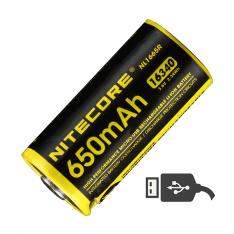 Аккумулятор RCR123A (650mAh) Nitecore NL1665R с портом USB