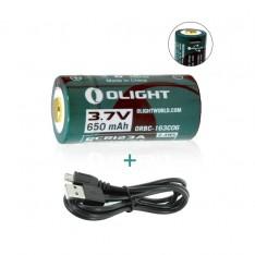Аккумулятор RCR123 Li-Ion Olight 3.7V (650mAh), защищенный, с USB-портом + USB-шнур в комплекте!